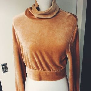 & Other Stories Cropped Velvet Sweater